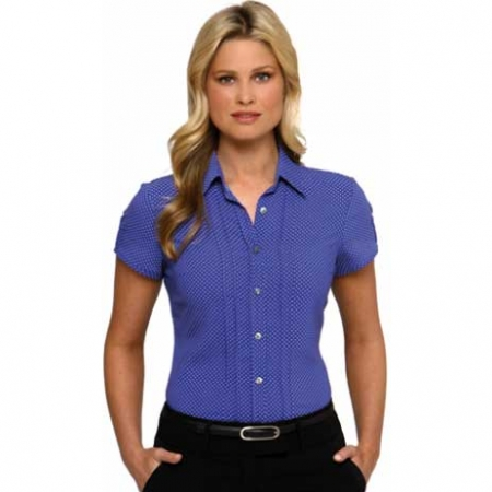 City Stretch Spot Cap Sleeve Shirt- Style 2173