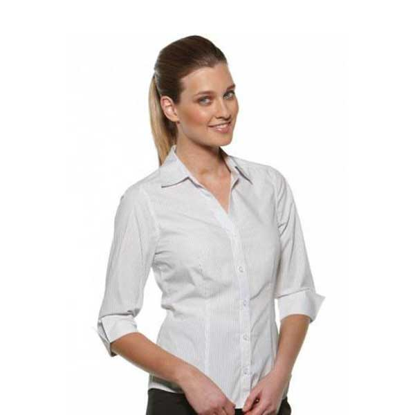 Model Stripe Fitted 3 4 Sleeve Ladies Shirt Style