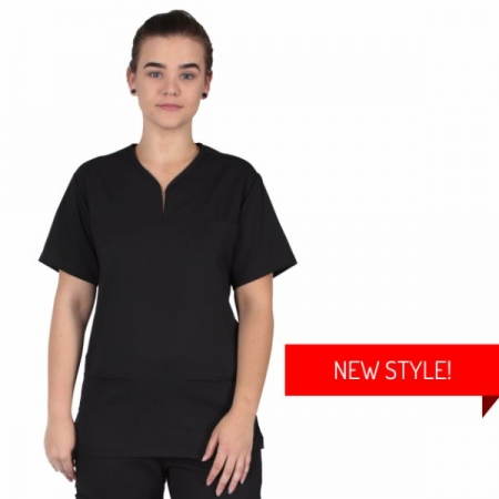 HCUA Silky Soft Scrubs Top - HCUAT01-Black